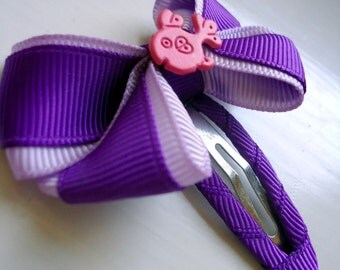 Children's Purple Bow Hair Accessories Pink Fish Hair Clip Trendy Adornment Girl Colorblock Hot Pink Lilac