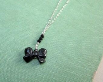 Black Necklace Bow Pendant Onyx Jewellery Sterling Silver Jewelry 925 Gemstone Chain Noir Girl Tween Children Wedding Flower Girl