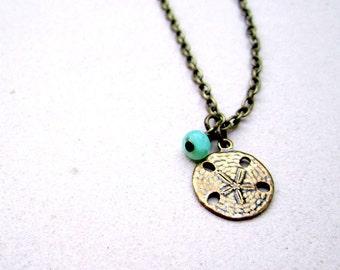 Children's Sand Dollar Necklace Brass Jewelry Tween Beach Ocean Girls Jewellery Chain Turquoise Bead