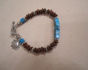 Children's Blue and Brown Bracelet Wood Jewelry Sun Charm Jewellery Mother Daughter Silver Unique Handcrafted