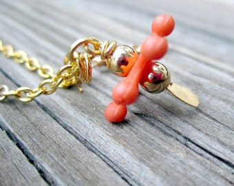 Child's Orange Necklace Jacks Pendant Funky Jewellery Gold Jewelry Chain Fashion Trendy Summer Unique