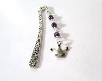 Princess Bookmark Crown Charm Purple Beads Accessories Gift Ideas for Her Party Favor Accessory Award Reward Reader Book