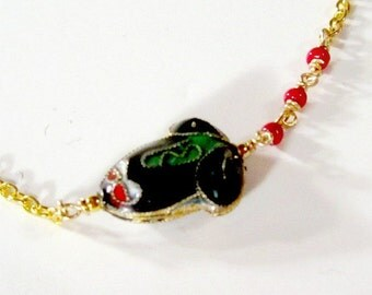 Frog Bracelet - Frog Jewelry - Yellow Gold Jewelry Cloisonne Chain Jewellery Unique Handcrafted Asymmetric Children Red