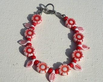 Red Bracelet Flower Bracelet Silver Jewelry Red White Flowers Leaves Girls Jewellery