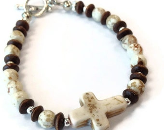 Cross Bracelet - Baptism - Turquoise Gemstone Jewellery - First Communion Jewelry - Brown Wood Beads - Silver