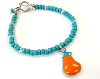 Turquoise Bracelet Silver Jewelry Orange Pear Charm Beaded Bright Summer Fashion Jewellery Everyday Simple Children