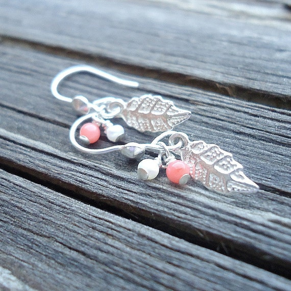 Children's Pearl and Coral Earrings Leaf Earrings Sterling Silver Jewelry Pierced Earrings Dangle Handmade Jewellery Little Girl ER-TBM