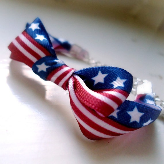 Children's Red White Blue Bracelet Patriotic Jewelry Ribbon Jewellery Silver USA July 4th Independence Day
