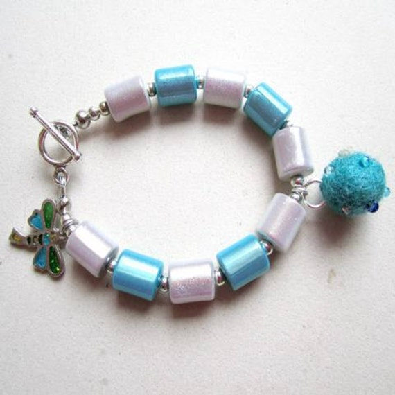 Teal Bracelet - Silver Jewelry - Felt Ball Dragonfly Charm Jewellery - Beads - Unique Girl Teen Teal Gray Grey