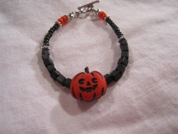 Pumpkin Bracelet  Halloween Jewellery Orange and Black Jewellery Children Trick or Treat