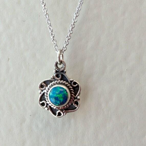 children 39 s opal necklace october birthstone sterling. Black Bedroom Furniture Sets. Home Design Ideas