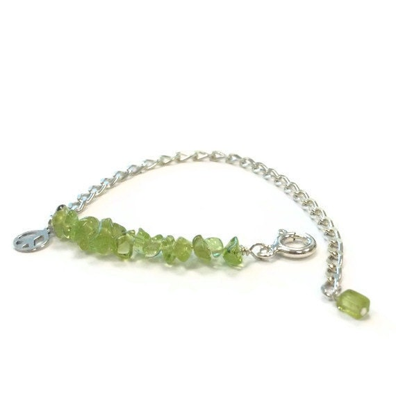 Green Bracelet Sterling Silver Jewelry August Birthstone Peridot Natural Gemstone Bead Bar Layer Peace Sign Charm Extender Chain Jewellery