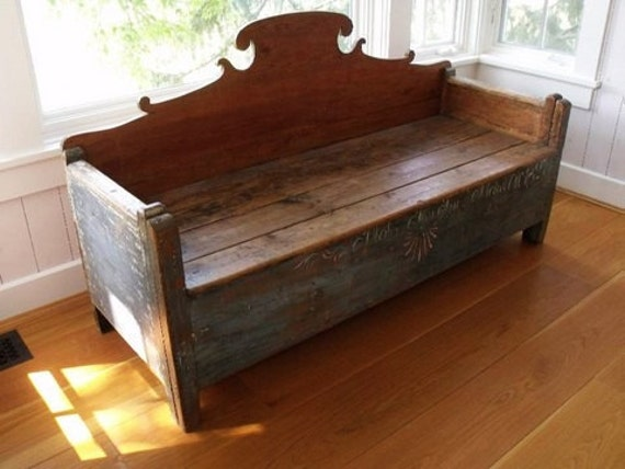 Reserved Primitive Storage Bench Antique By Drefindsvintage
