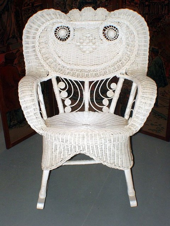 vintage ornate white wicker rocker or rocking chair. Black Bedroom Furniture Sets. Home Design Ideas