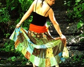 Reserved for Hannah Crazyhawk- Festival Skirt- Five Tier Patchwork Skirt with Train and Fold-over Waistband