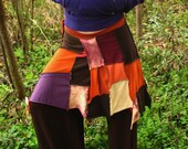 RESERVED for Cynthia- Autumn Leaves Wrap Skirt Top Shawl in Purple, Burgundy, Orange, Yellow and Brown Upcycled T-shirt