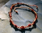 Pyro Twist Glass and Hemp Necklace in Red and Yellow