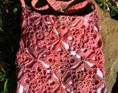 Dapple Dyed Pink Crochet Bag Purse Tote
