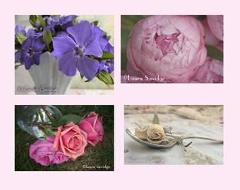Set of 4 Vintage-esque Floral Postcards