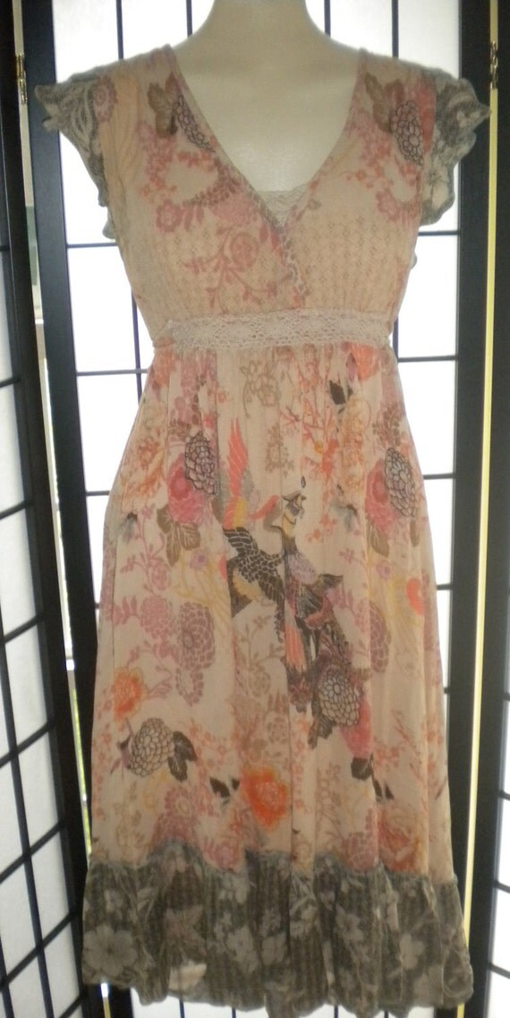 Vintage Gauzy Bohemian Earthy Dress