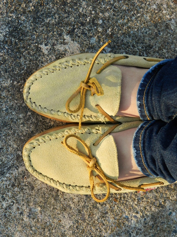 Vintage Suede Leather Moccasins by Jiffies