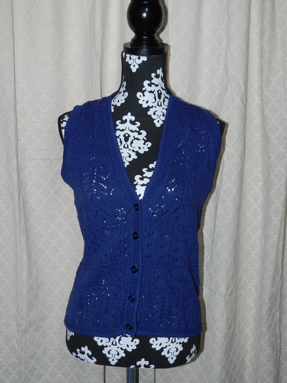 SWEATER SALE Vintage Indigo Sweater Vest by Harot