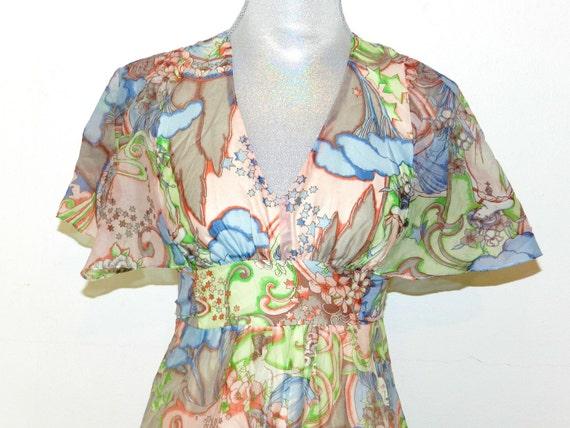Vintage 1960s Geisha Fantasia Maxi Dress - Small
