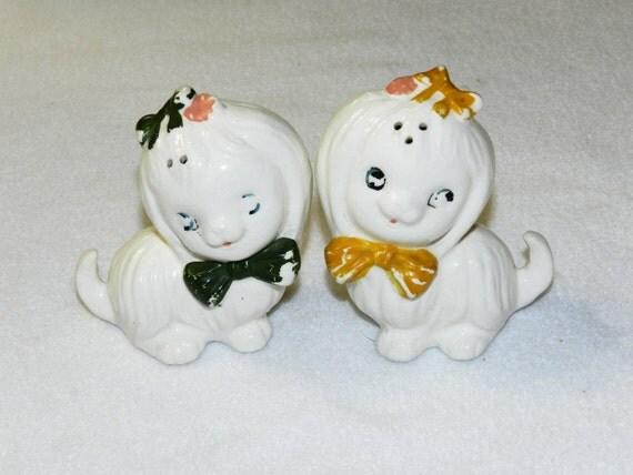 Vintage 1950s Ceramic Salt And Pepper Shakers - Precious Puppies