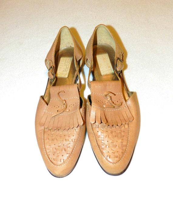Vintage Leather Esprit Fringed Granny Sandals - Size 7.5