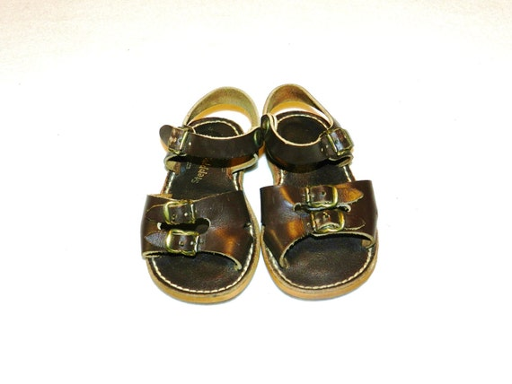 Vintage 1970s Childrens / Toddler Leather Sandals - Size 7