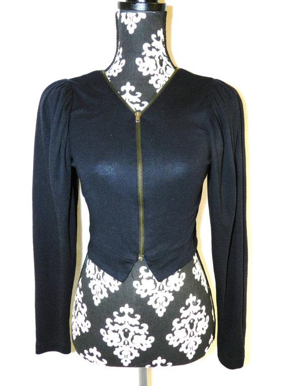 Vintage Pleated Black Cropped Zip Up Jacket / Shirt - Medium