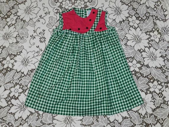 Vintage Toddler Girls Sleeveless Summer Watermelon Dress - Size 4T