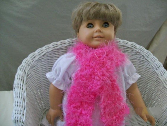 """Pink Doll Scarf for 18"""" Doll Hand Knit"""