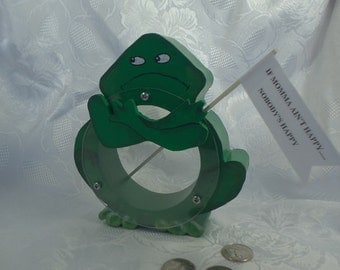"""Green Frog with an Attitude-wooden bank-""""Here's your sign"""""""