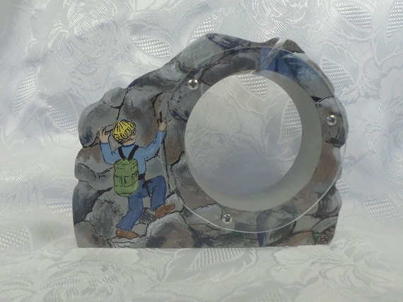 Mountain Climber on rocks Wooden Bank- personalized free