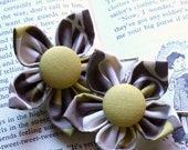 Retro-Style-6 Hand-Folded Flower Bobby Pins (Set 2)