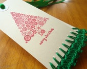 Hand Crocheted & Stamped Gift Tags - Green Christmas Tree - SIX