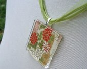 Green/Red/Gold Square Glass Chiyogami Pendant - Funds to Orphanage