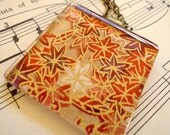 "Red/Gold Maple Leaves Large Glass Tile Chiyogami Pendant with 18"" Antique Bronze Chain - Charity - Orphanage"