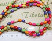 16 inches per pack 8x5mm Oval Tube Multi-color Dyed Magnesite.