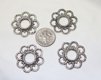 10 pcs per pack 26mm 3mm thickness Antique Silver Finish Lead Free Pewter Flower Link Components