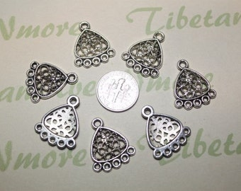 12 pcs - 22x18mm Chandelier Filigree Earring Component Antique Silver Finish Lead free Pewter