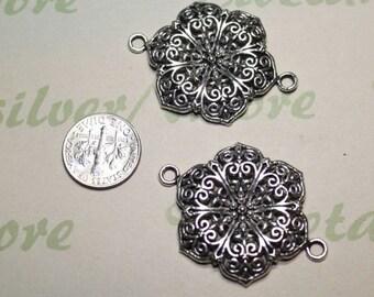 6 pcs per pack 32mm Large Filigree Flower Link Pendant Antique Silver Finish Lead free Pewter