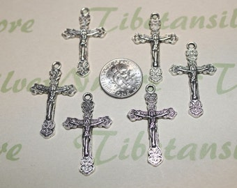12 pcs per pack 20x35mm Crucifix Charm Antique Silver Finish Lead Free Pewter