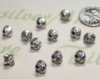 36 pcs per pack 6x7mm Bali Style Spacer Bicone Bead Antique Silver Finish Lead Free Pewter