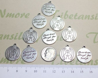 10 pcs per pack 18mm Guardian Angel for Health coin charm in Antique Silver Lead free Pewter.