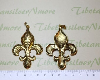 2 pcs per pack 70x45mm Large Fleur De Lis Pendant Antique Gold Finish Lead Free Pewter