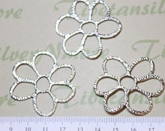 8 pcs a pkg 40mm Large Cut Hammered Flower Link Pendant Antique Silver Finish Lead free Pewter