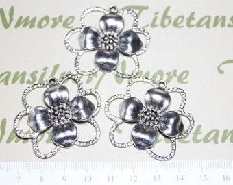 3 pcs per pack 46mm Large Flower Pendant Antique Silver Lead free Pewter