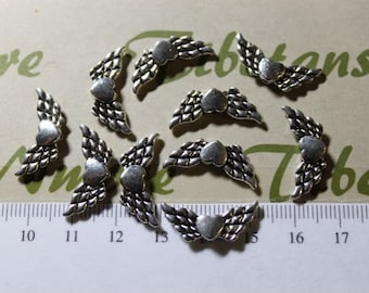 24 pcs per pack 21x6mm Angel Heart Wing Beads Antique Silver Finish Lead Free Pewter